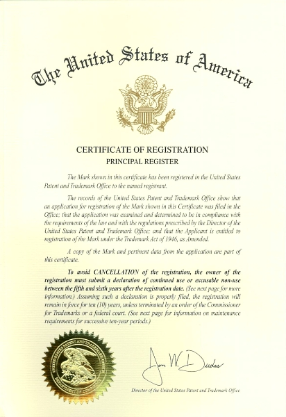 Certificate of Registration des USPTO