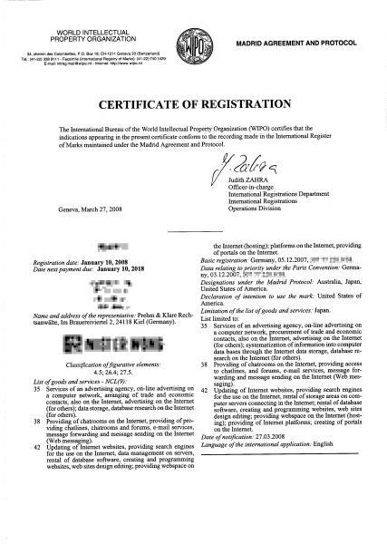 Certificate of Registration der WIPO
